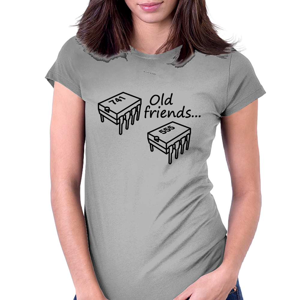 Old Friends (741 Op-Amp and 555 Timer Chips) Womens Fitted T-Shirt