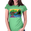 Olive and Cypress Trees by the river Womens Fitted T-Shirt