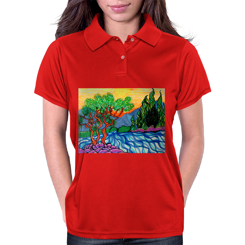 Olive and Cypress Trees by the river Womens Polo