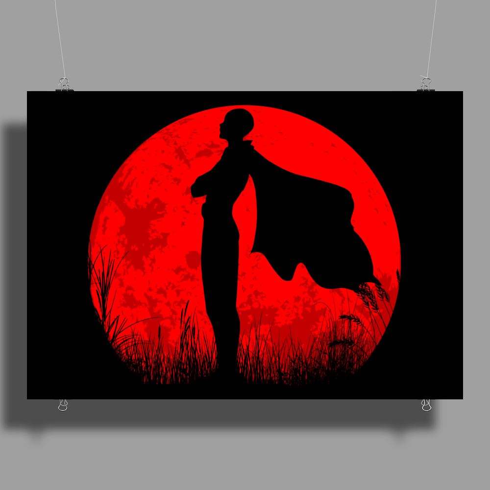 One punch man - Red moon Poster Print (Landscape)