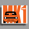 Orange Ford Escort MK1 Classic Car Poster Print (Landscape)