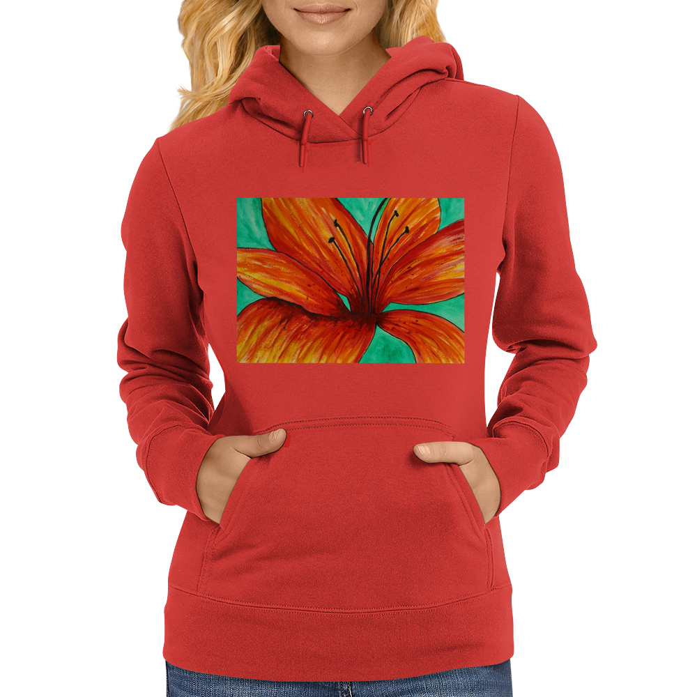 Orange Lily Womens Hoodie