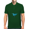 Origami bird style, Cute Blue bird Mens Polo