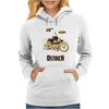 Ostrich on an Motorcycle Womens Hoodie