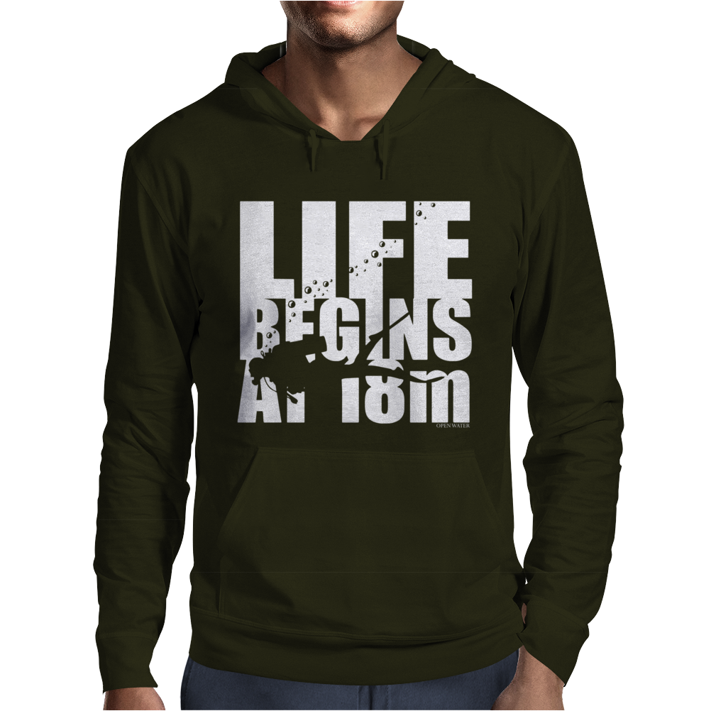 OW Life Begins At 18 Meters Mens Hoodie