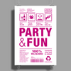 packaging label party & fun get drunk think green enjoy your life party hard Poster Print (Portrait)