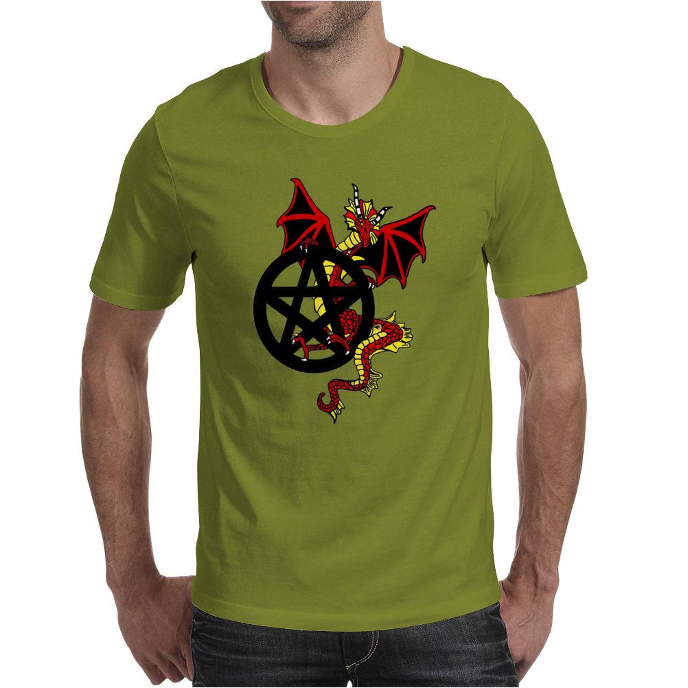 Pagan Pentacle and Dragon Mens T-Shirt