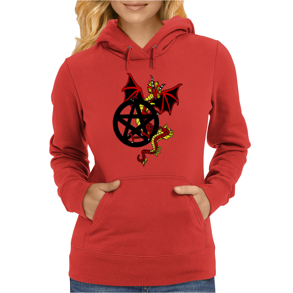 Pagan Pentacle and Dragon Womens Hoodie