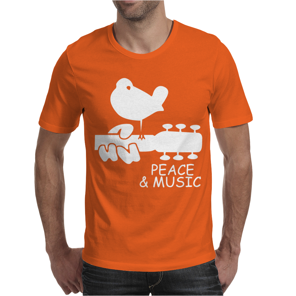 Peace And Music Guitar Hippie Mens T-Shirt