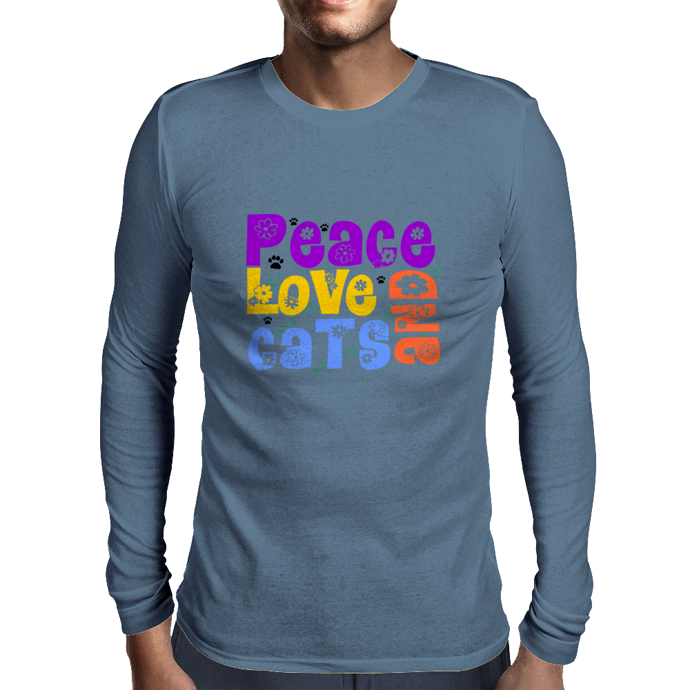 Peace Love and Cats Mens Long Sleeve T-Shirt