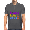 Peace Love and Cats Mens Polo
