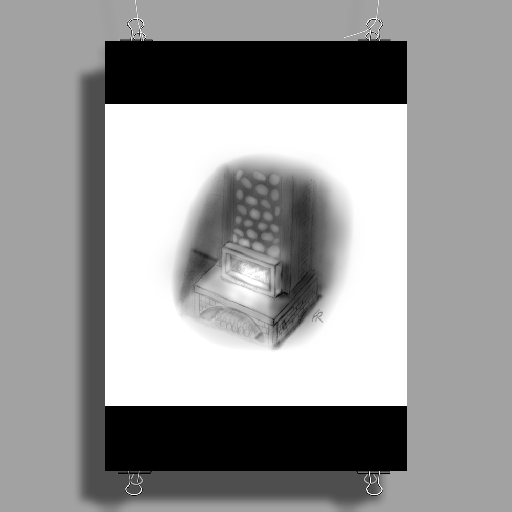 Pencil fireplace Poster Print (Portrait)