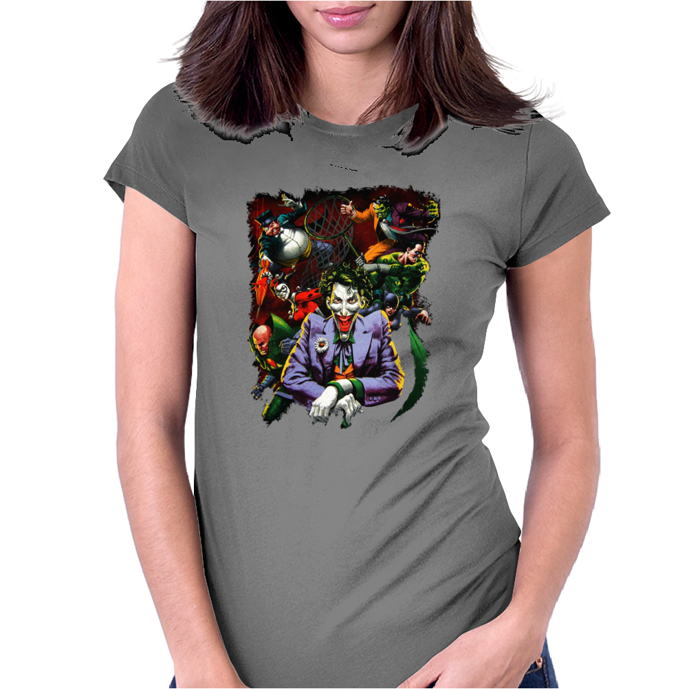 Penguin, Harley Quinn,Cat Woman Joker,Two Face, Riddler Villians Dc Comics Womens Fitted T-Shirt