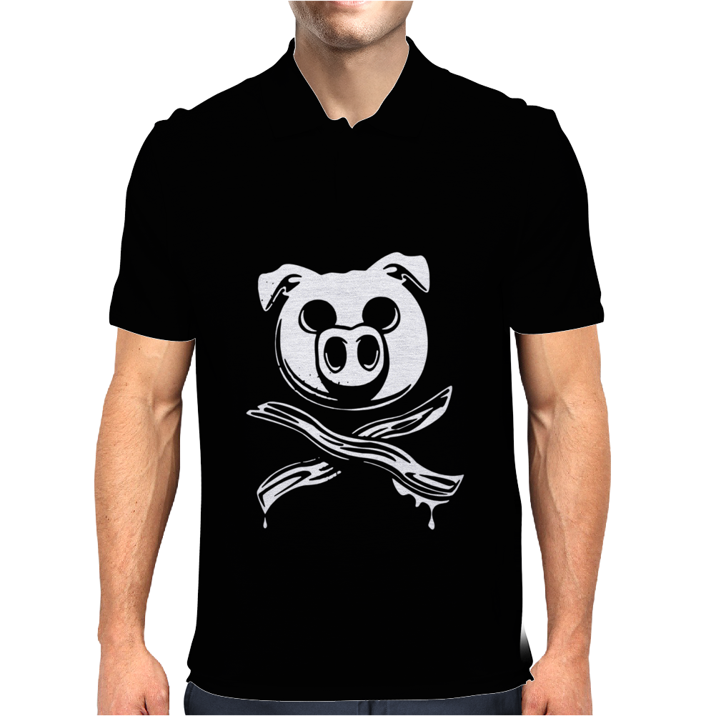 Pig Bacon Cross Bones Pirate Mens Polo