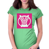 Pink Owl Womens Fitted T-Shirt