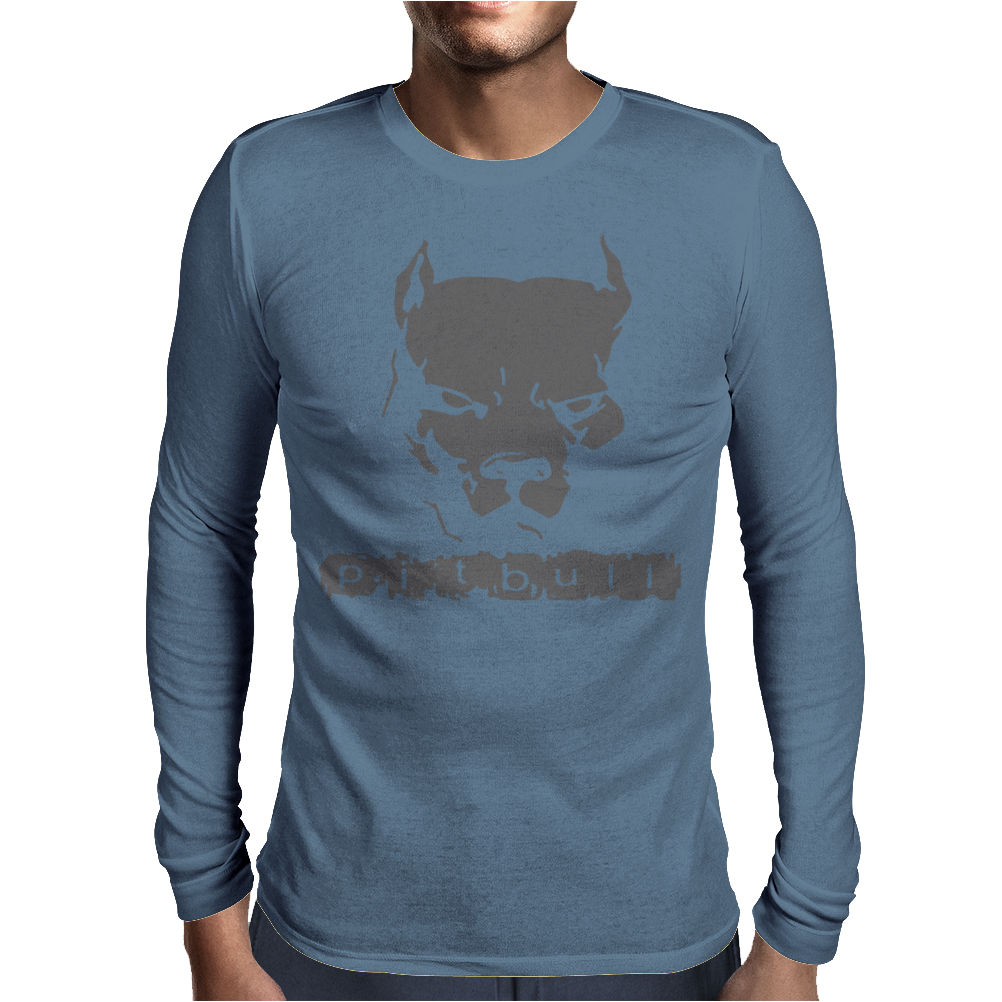 Pitbull American Pit Bull Spiked Dog Collar Mens Long Sleeve T-Shirt
