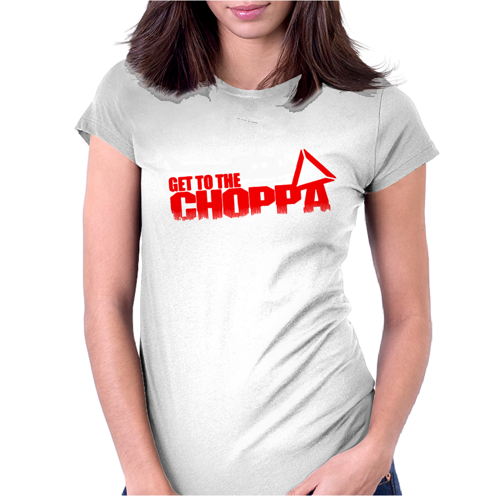 Predator Arnold Schwarzenegger Get to the Choppa Movie Womens Fitted T-Shirt