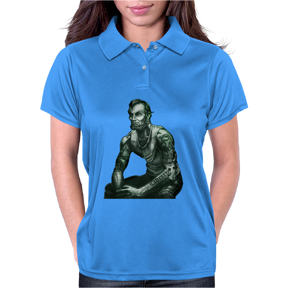 President Lincoln Five Dollar Bill Muscle Jacked Gym Womens Polo