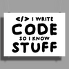 Programmers know stuff - blk Poster Print (Landscape)