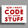 Programmers know stuff - red Poster Print (Landscape)