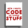 Programmers know stuff - red Poster Print (Portrait)