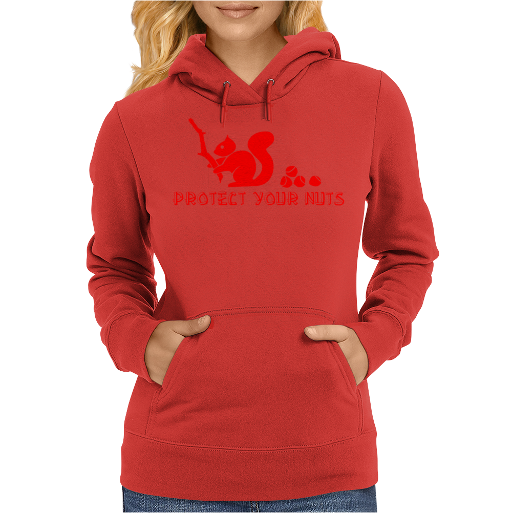 Protect your nuts red Womens Hoodie