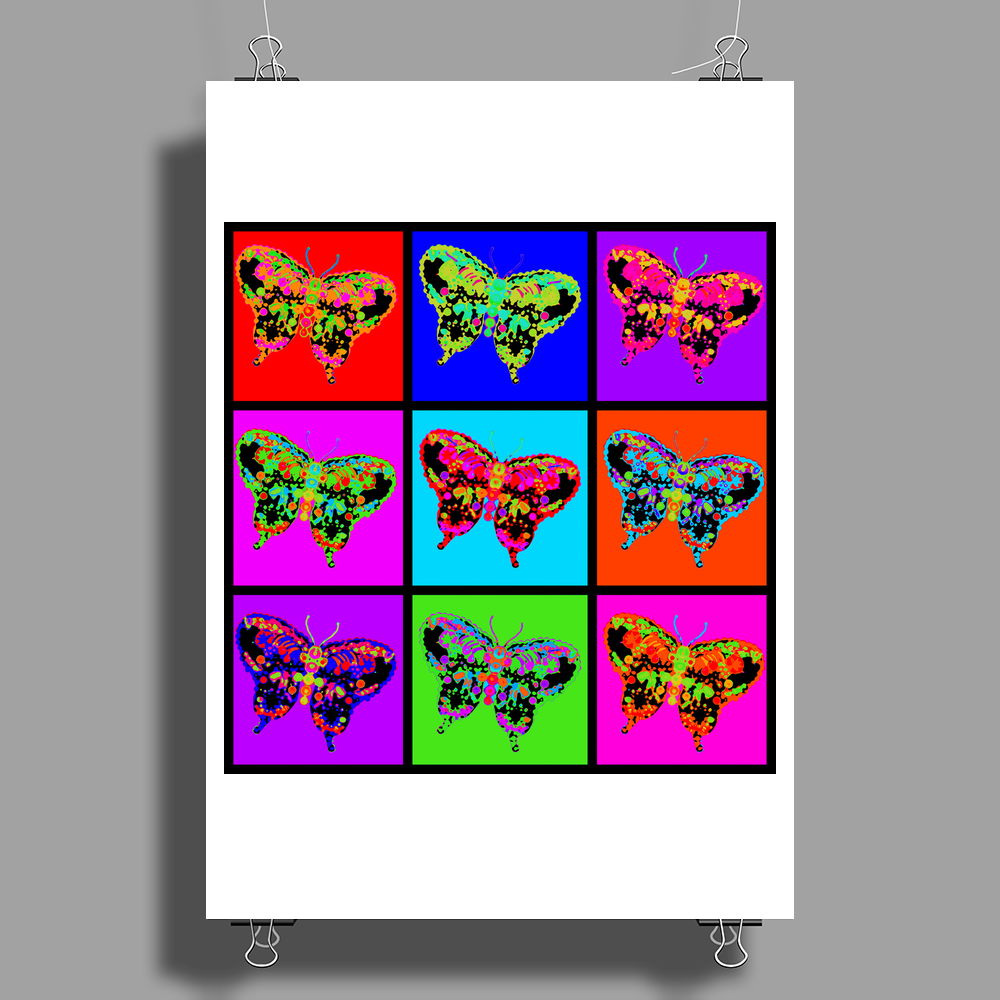 Psychedelic Butterflies Mosaic Poster Print (Portrait)