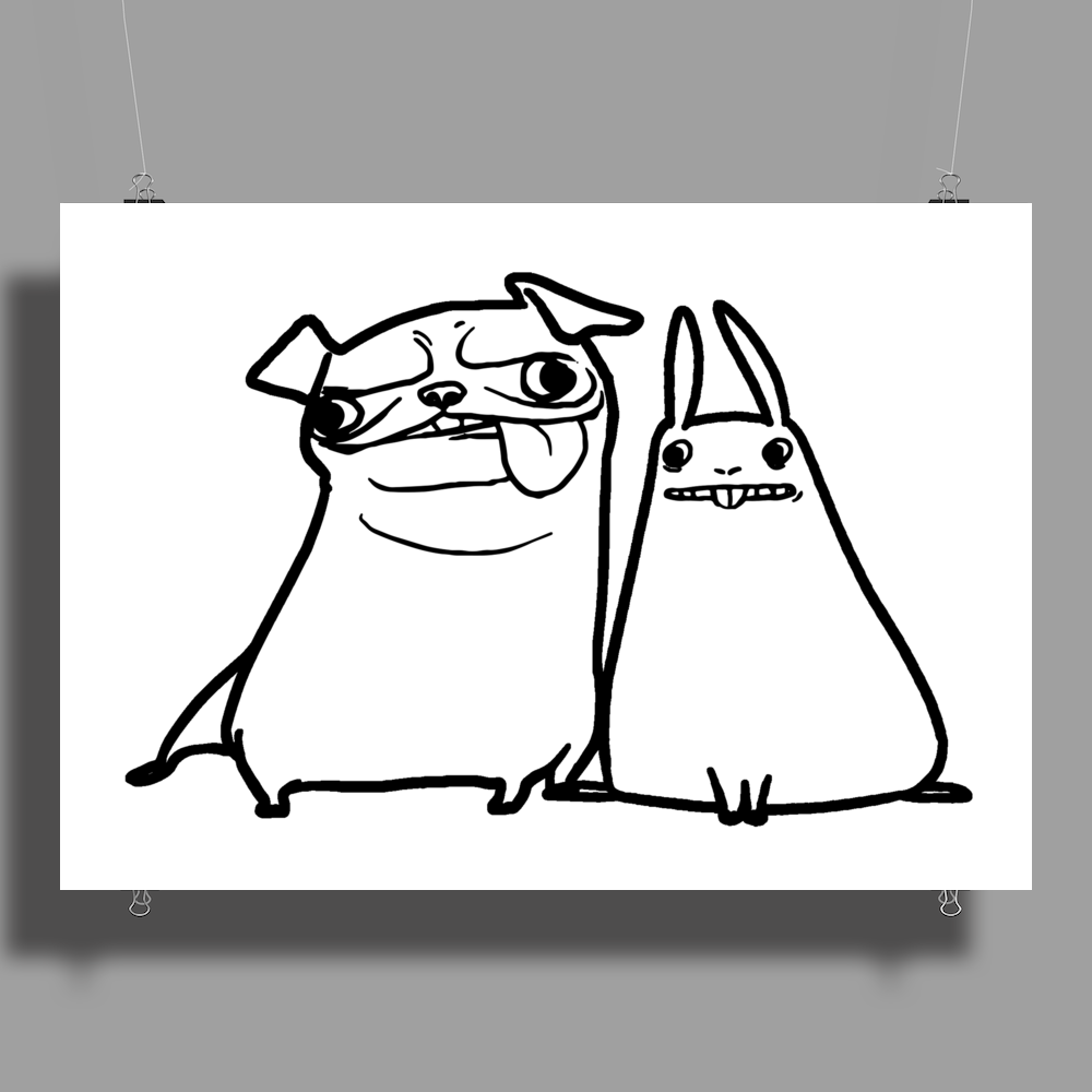 pug and rabbit Poster Print (Landscape)