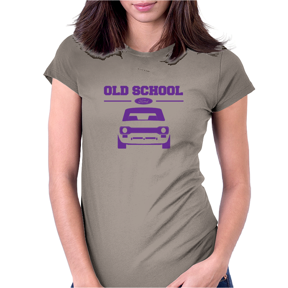 Purple Ford Escort Old School Classic Car Womens Fitted T-Shirt