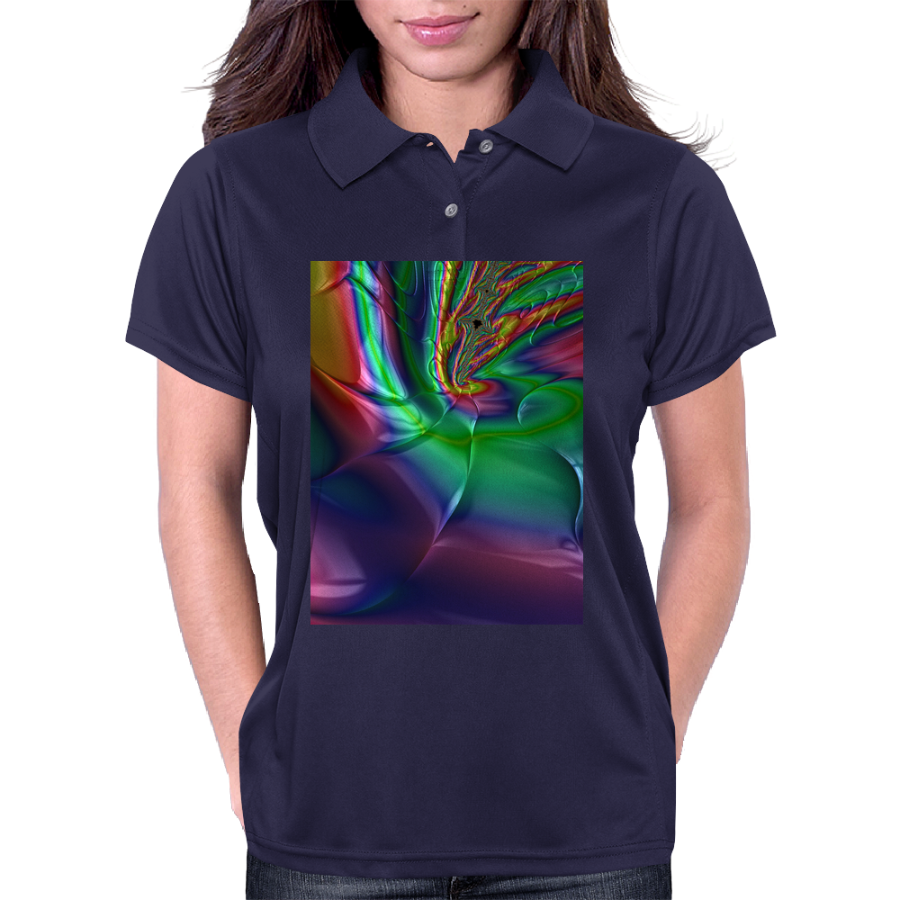 Purple Green Rainbow Dented Pillow Fractal Womens Polo