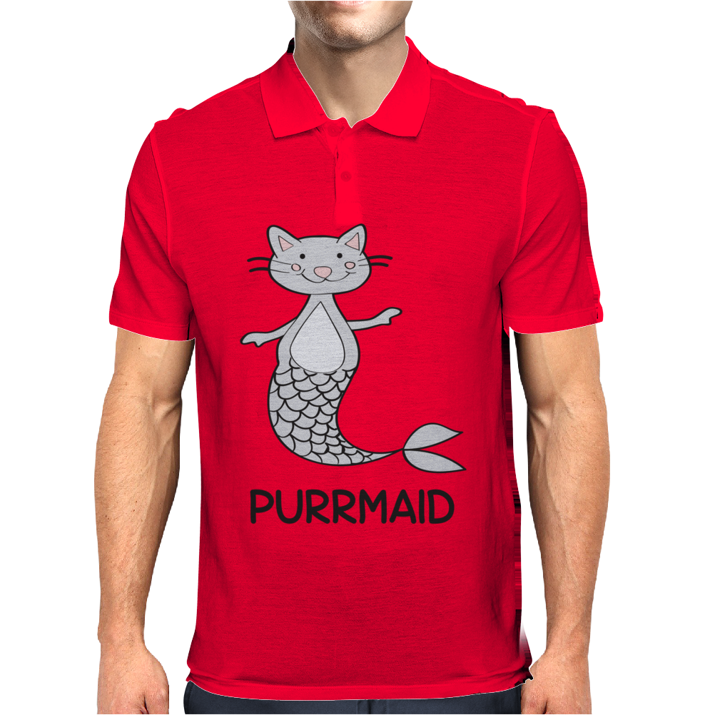 Purrmaid Funny Kitty Cat Mermaid Mens Polo