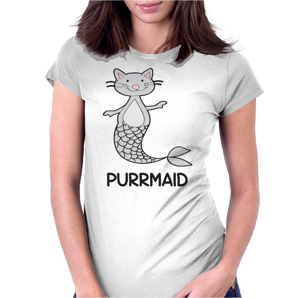 Purrmaid Funny Kitty Cat Mermaid Womens Fitted T-Shirt