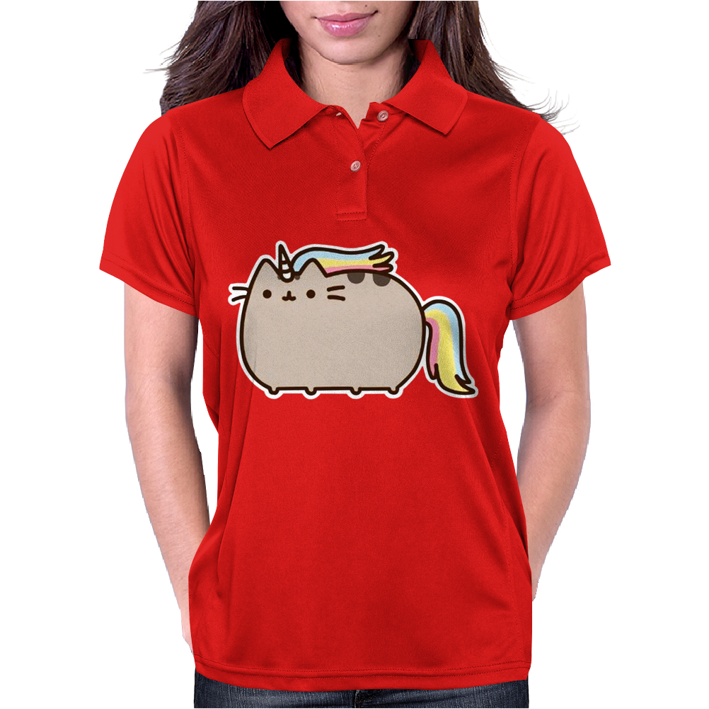 Pusheen Cat Rainbow Unicorn Kitty Womens Polo
