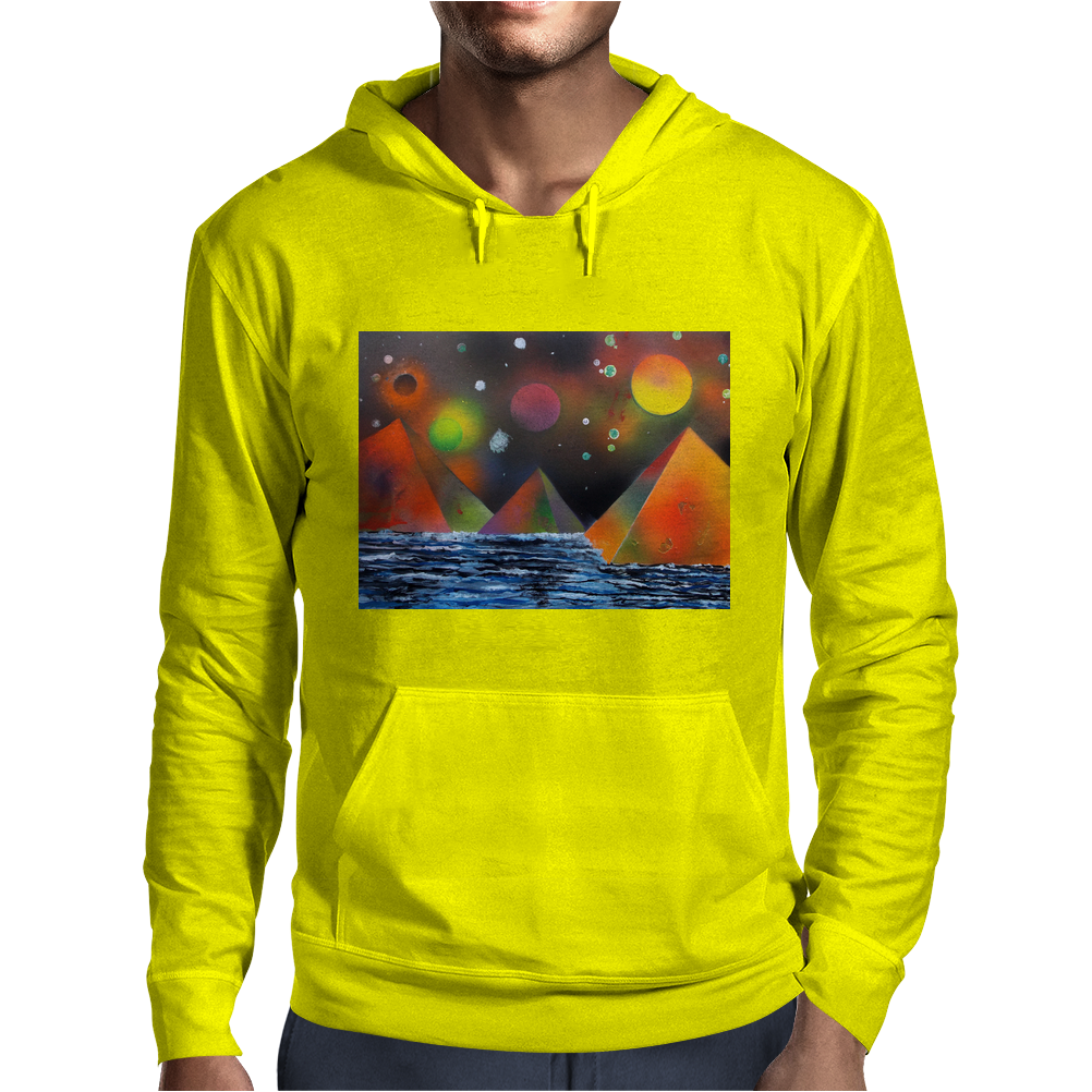 Pyramids by the River Mens Hoodie