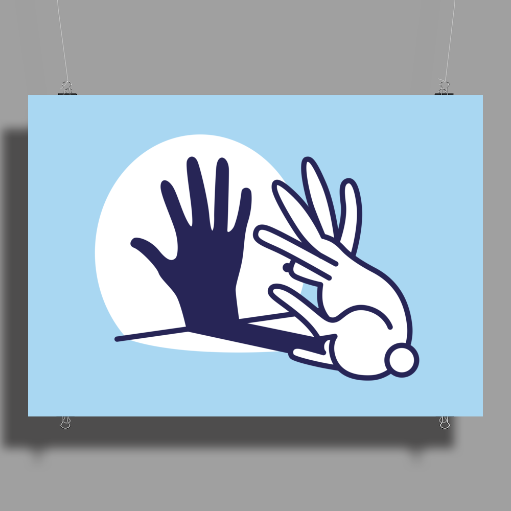 Rabbit Shadow Hand Poster Print (Landscape)
