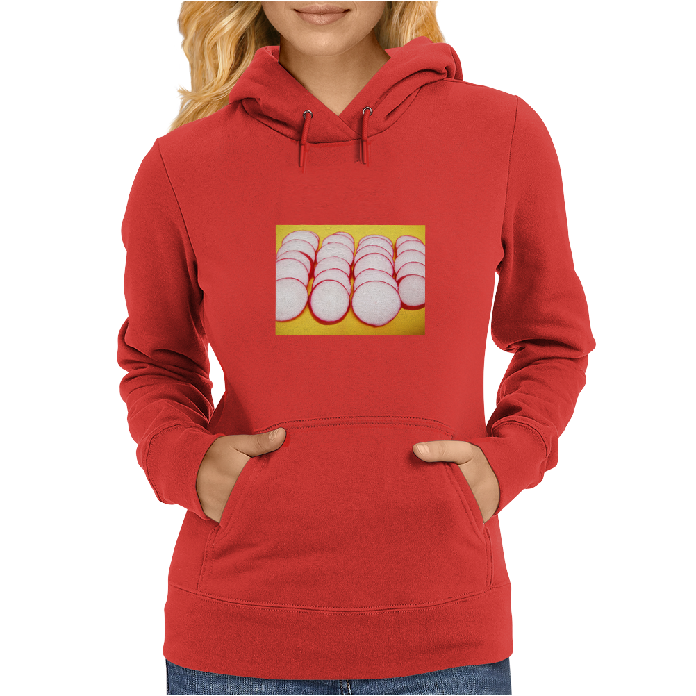 Radishes and yellow background Womens Hoodie