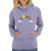 rainbow sun clouds hearts grunge style Womens Hoodie