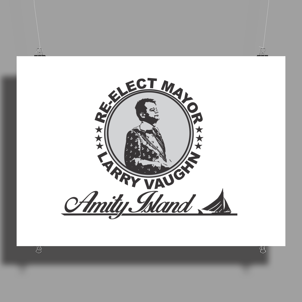 Re-Elect Mayor Larry Vaughn black text Poster Print (Landscape)
