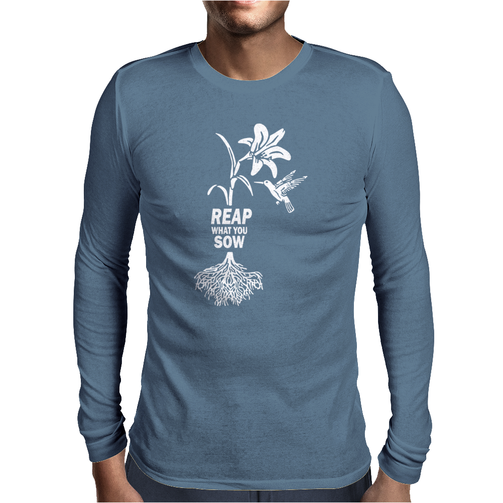 Reap what you sow Flower Hummingbird Heather Mens Long Sleeve T-Shirt