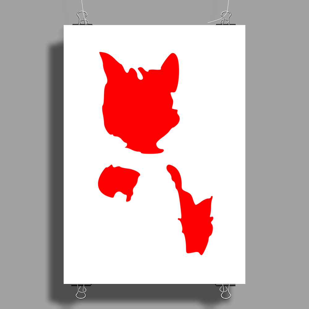 Red Cat Blot Test Poster Print (Portrait)