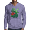 Red cute ladybird sitting on a leaf of grass, green watercolor background Mens Hoodie