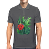 Red cute ladybird sitting on a leaf of grass, green watercolor background Mens Polo