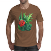 Red cute ladybird sitting on a leaf of grass, green watercolor background Mens T-Shirt