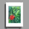 Red cute ladybird sitting on a leaf of grass, green watercolor background Poster Print (Portrait)