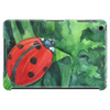 Red cute ladybird sitting on a leaf of grass, green watercolor background Tablet