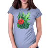 Red cute ladybird sitting on a leaf of grass, green watercolor background Womens Fitted T-Shirt