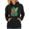Red cute ladybird sitting on a leaf of grass, green watercolor background Womens Hoodie