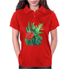 Red cute ladybird sitting on a leaf of grass, green watercolor background Womens Polo