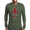 Red Fleur De Lis Mens Long Sleeve T-Shirt