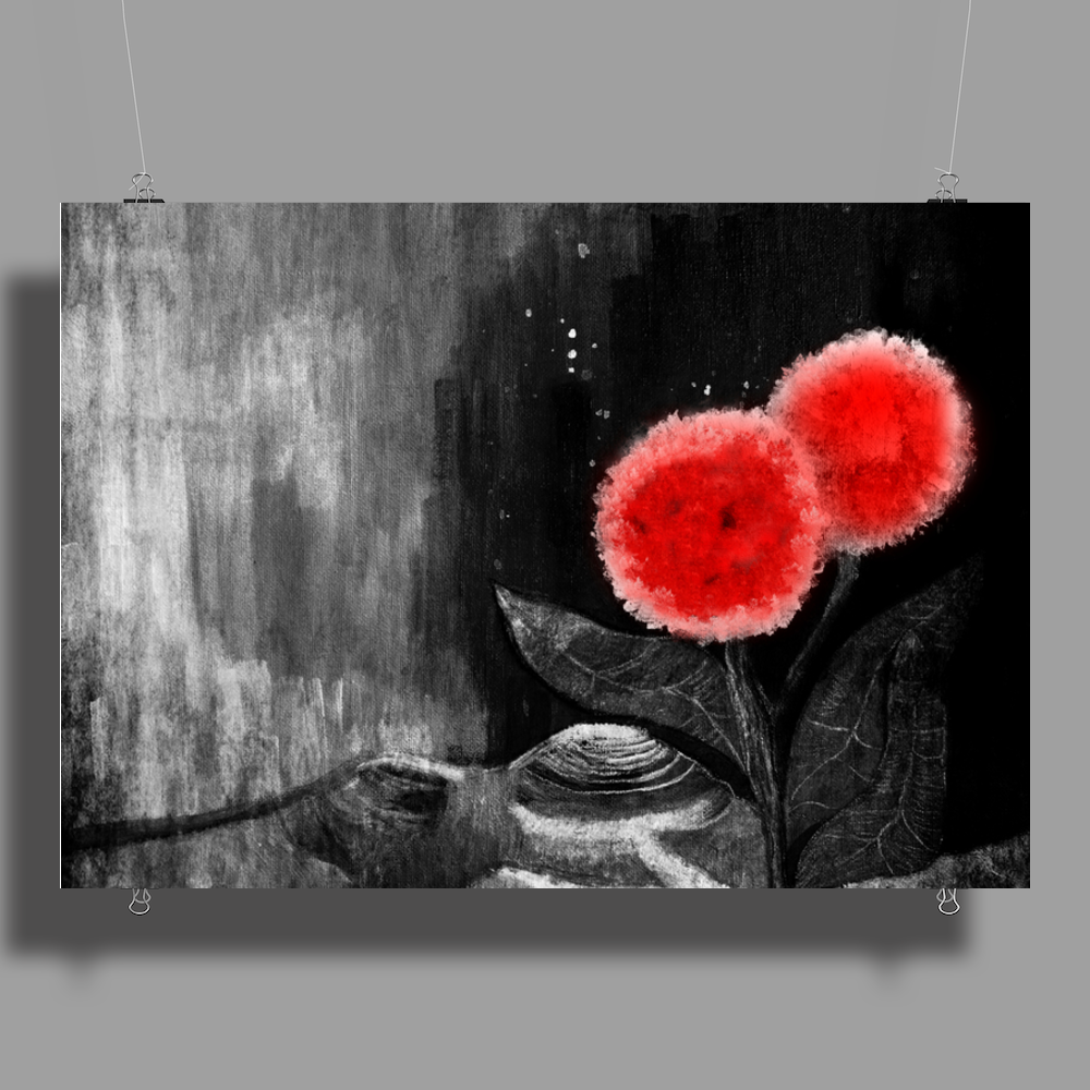 Red Flowers Poster Print (Landscape)